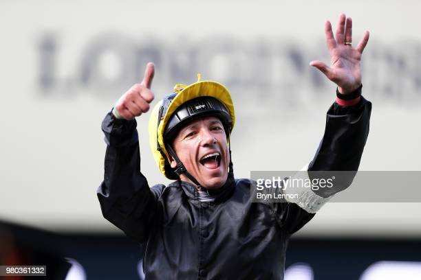 Frankie Dettori riding Stradivarius celebrates winning The Gold Cup on day 3 of Royal Ascot at Ascot Racecourse on June 21 2018 in Ascot England