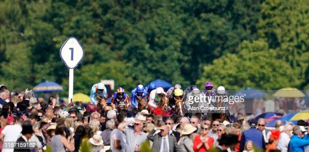 Frankie Dettori riding Stradivarius on their way to winning The Gold Cup on day three of Royal Ascot at Ascot Racecourse on June 20 2019 in Ascot...