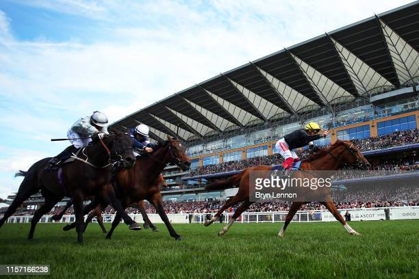 Frankie Dettori riding Stradivarius reacts to winning The Gold Cup on day three of Royal Ascot at Ascot Racecourse on June 20, 2019 in Ascot, England.