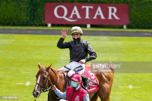Frankie Dettori riding Stradivarius win The Al Shaqab Goodwood Cup Stakes for a fourth consecutive year at Goodwood Racecourse on July 28 2020 in...