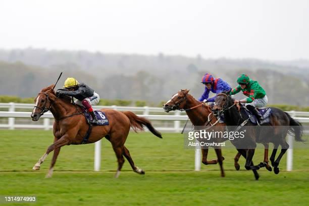 Frankie Dettori riding Stradivarius win The Longines Sagaro Stakes at Ascot Racecourse on April 28, 2021 in Ascot, England. Sporting venues around...