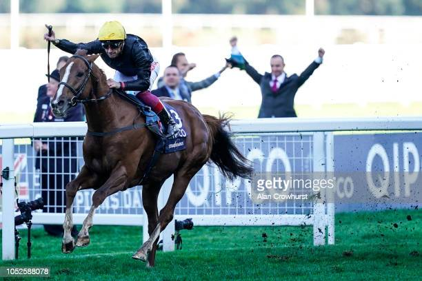 Frankie Dettori riding Stradivarius win The Qipco British Champions Long Distance Cup at Ascot Racecourse on October 20 2018 in Ascot United Kingdom