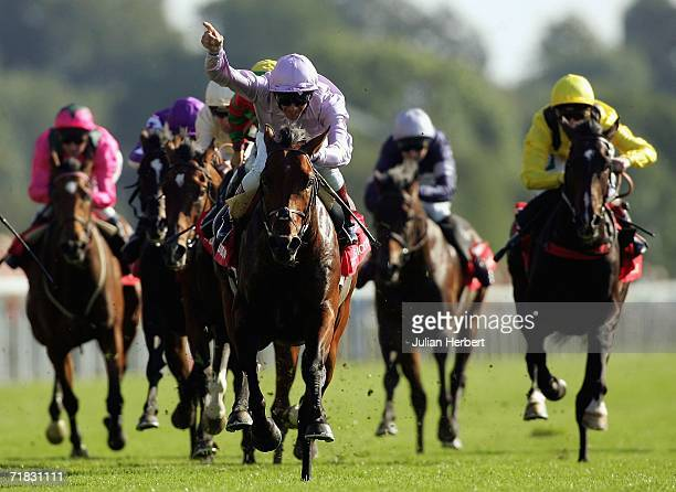 Frankie Dettori shows his delight as Sixties Icon lands The Ladbrokes St Leger Stakes Race run at York Racecourse onSeptember 9 2006 in York England