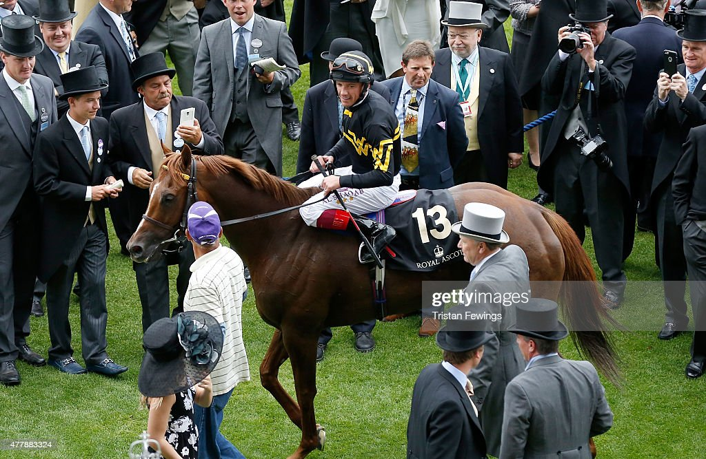 Frankie Dettori smiles after winning the Diamond Jubilee Stakes riding Undrafted during day 5 of Royal Ascot 2015 at Ascot racecourse on June 20, 2015 in Ascot, England.