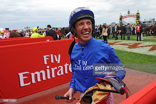 Frankie Dettori smiling after he rode in his last Emirates Melbourne Cup during 2012 Melbourne Cup Day at Flemington Racecourse on November 6 2012 in...