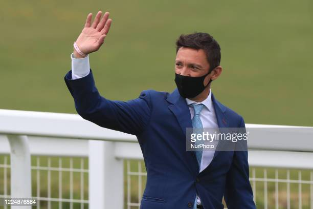 Frankie Dettori walks the course on Epsom Downs south of London on July 4 2020 and waves to his supporters prior to the 241st Epsom Derby which was...