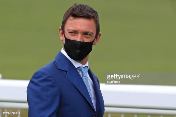 Frankie Dettori walks the course on Epsom Downs south of London on July 4 2020 prior to the 241st Epsom Derby which was postponed on June 6th and was...