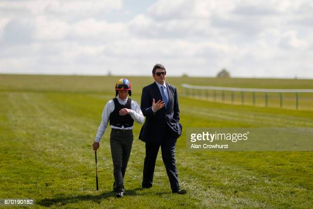 Frankie Dettori with Hugo Palmer at Newmarket Racecourse on April 19 2017 in Newmarket England