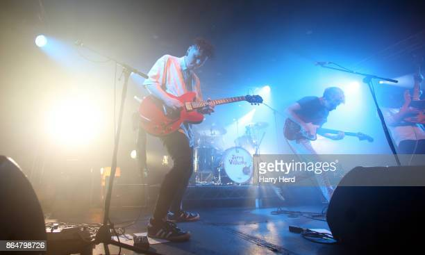 Frankie Drain and Brandon Squibb and Daniel SurridgeSmith and Harrison Adams of Arcade Hearts perform live on stage at Portsmouth Wedgewood Rooms on...