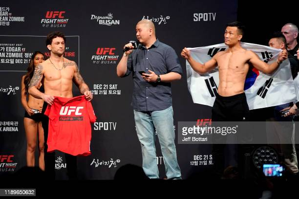 Frankie Edgar and Chan Sung Jung of South Korea are interviewed on stage during the UFC fight night weighin at Sajik Arena on December 20 2019 in...