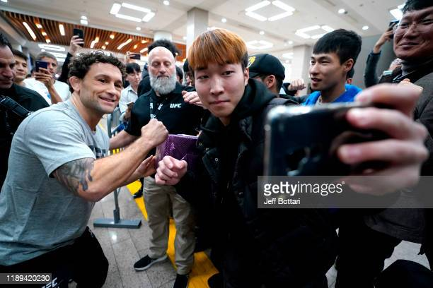 Frankie Edgar holds an open training session for fans and media during the UFC Fight Night Open Workouts at City Hall on December 18 2019 in Busan...