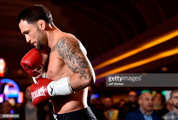 Frankie Edgar holds an open training session for fans and media during the UFC 222 Open Workouts at MGM Grand Hotel Casino on March 1 2018 in Las...