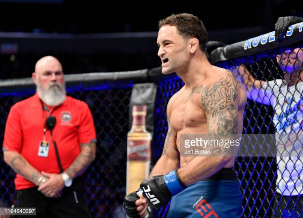 Frankie Edgar prepares to fight Max Holloway in their UFC featherweight championship bout during the UFC 240 event at Rogers Place on July 27 2019 in...