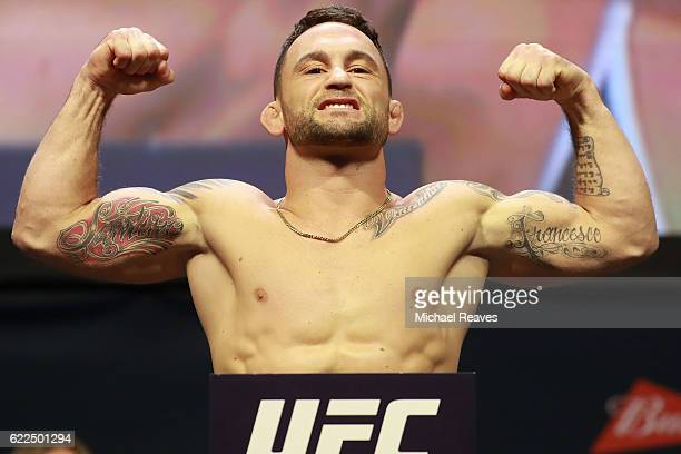 Frankie Edgar reacts during UFC 205 Weighins at Madison Square Garden on November 11 2016 in New York City