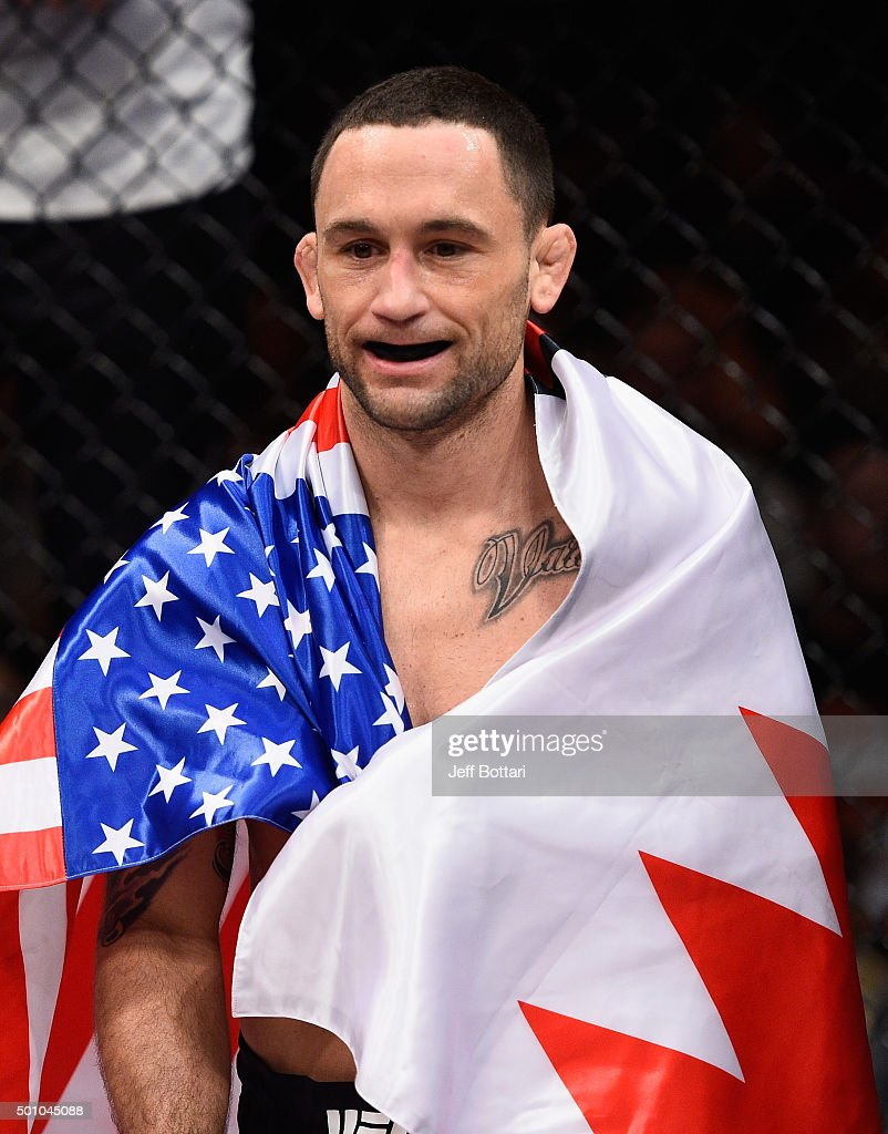 Frankie Edgar reacts to his victory over Chad Mendes in their featherweight bout during the TUF Finale event inside The Chelsea at The Cosmopolitan of Las Vegas on December 11, 2015 in Las Vegas, Nevada.