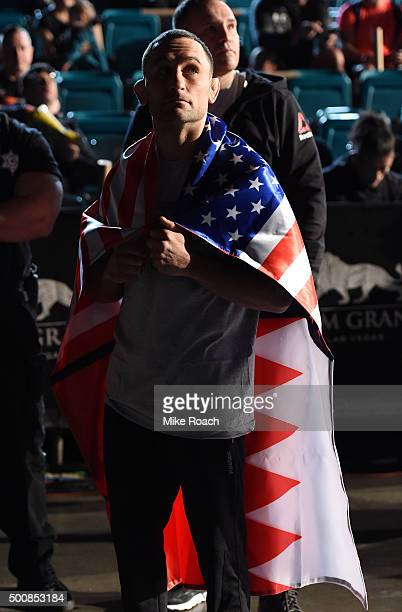 Frankie Edgar waits backstage before stepping on the scale during the UFC weighin inside MGM Grand Garden Arena on December 10 2015 in Las Vegas...