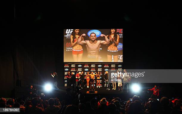 Frankie Edgar weighs in for his UFC World Lightweight title match against Benson Henderson during the Weigh in for UFC 144 at the Saitama Super Arena...