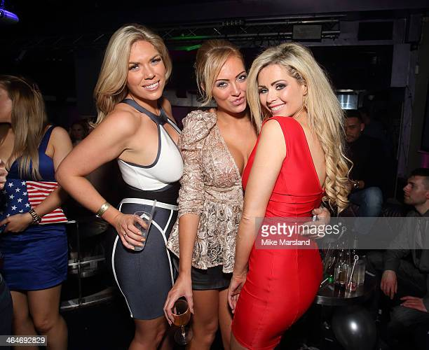 Frankie Essex Aisleyne HorganWallace andNicola Mclean attend Nuts 10th Birthday Party at Aura on January 23 2014 in London England