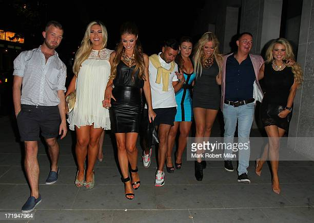 Frankie Essex Chloe Sims Abi Clarke Aisleyne HorganWallace Craig JohnsonPass and Nicola McLean leaving STK restaurant on June 29 2013 in London...