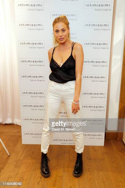 Frankie Gaff attends the launch of the new Intimissimi SILK collection at their flagship store on Oxford Street on April 04 2019 in London England