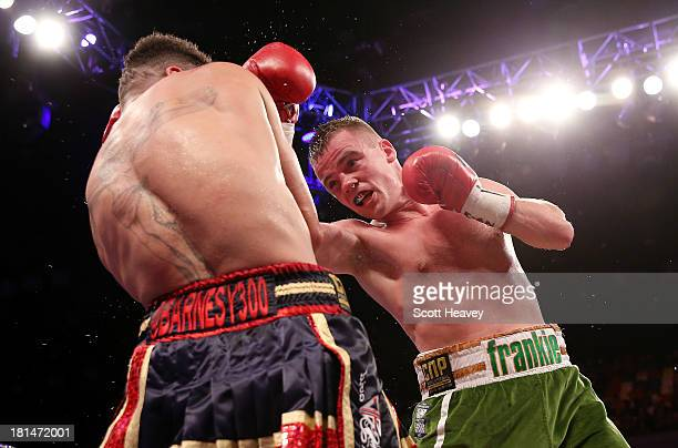 Frankie Gavin catches David Barnes with a right hook during their British and Commonwealth welterweight championship bout at The Copper Box on...