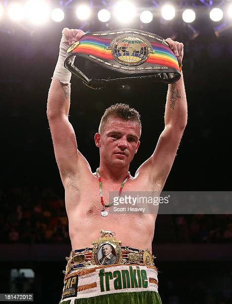 Frankie Gavin celebrates his victory over David Barnes during their British and Commonwealth welterweight championship bout at The Copper Box on...