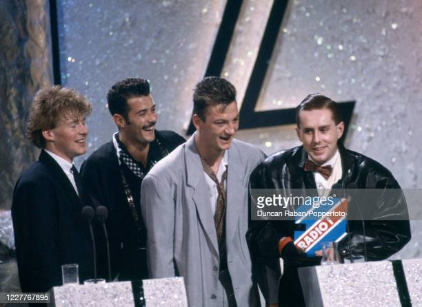 Frankie Goes to Hollywood Brian Nash, Paul Rutherford, Mark O'Toole and Holly Johnson during the Brit Awards at the Grosvenor House Hotel in London,...