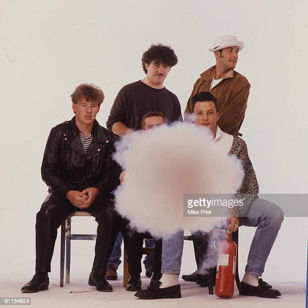 Frankie Goes To Hollywood posed in London in 1987 LR Top Peter Gill Paul Rutherford Bottom Brian Nash Holly Johnson Mark O'Toole