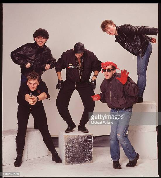 Frankie Goes To Hollywood studio group portrait London March 1984 LR Peter Gill Mark O'Toole Paul Rutherford Holly Johnson Brian Nash