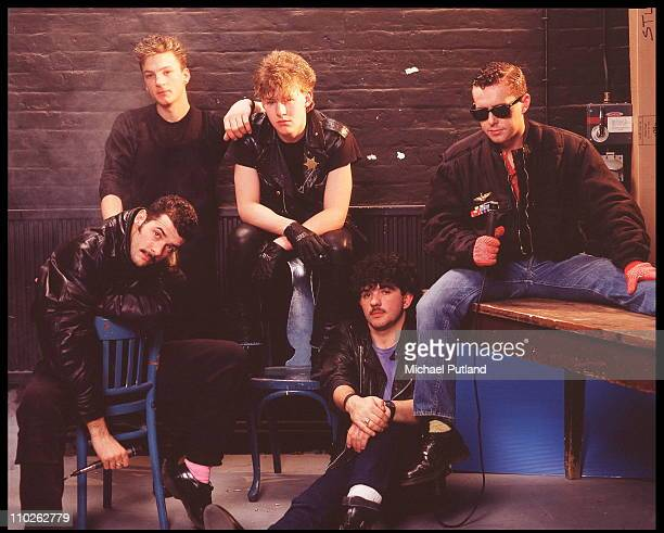 Frankie Goes To Hollywood studio group portrait London March 1984 LR Paul Rutherford Mark O'Toole Brian Nash Peter Gill Holly Johnson