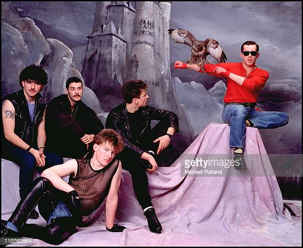 Frankie Goes To Hollywood studio group portrait London March 1984 LR Peter Gill Paul Rutherford Brian Nash Mark O'Toole Holly Johnson