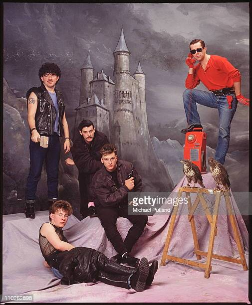 Frankie Goes To Hollywood studio group portrait London March 1984 LR Peter Gill Brian Nash Paul Rutherford Mark O'Toole Holly Johnson