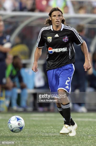 Frankie Hejduk dribbles the ball during the 2008 Pepsi MLS All-Star Game between the MLS All-Stars and West Ham United at BMO Field on July 24, 2008...