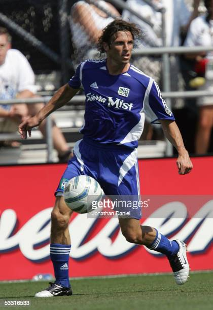Frankie Hejduk of the MLS AllStars looks to make a play against Fulham FC during the 2005 MLS AllStar game at Crew Stadium on July 30 2005 in...