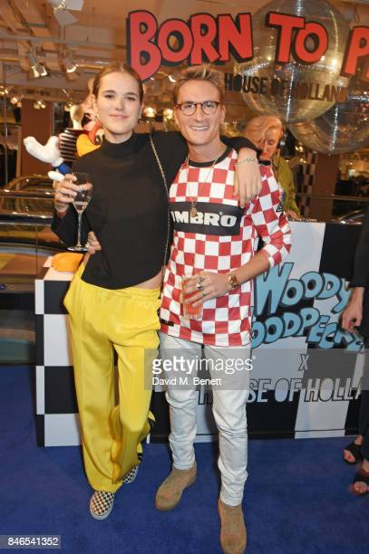 Frankie Herbert and Ollie Proudlock attend the launch of the House of Holland x Woody Woodpecker London Fashion Week pop up at Fenwick Of Bond Street...