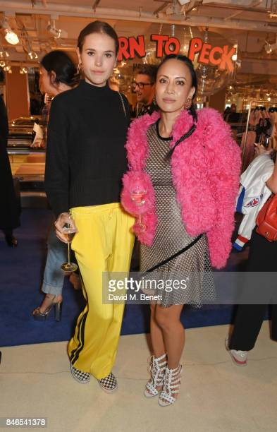Frankie Herbert and Vicky Lee attend the launch of the House of Holland x Woody Woodpecker London Fashion Week pop up at Fenwick Of Bond Street on...
