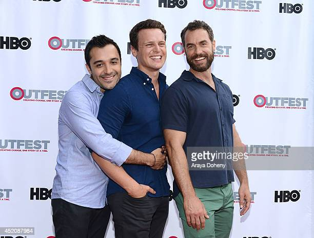Frankie J Alvarez Jonathan Groff and Murray Bartlett attend the 2014 Outfest Los Angeles panel discussion of 'Inside Looking' at DGA Theater on July...