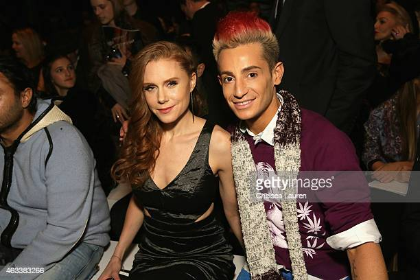 Frankie J Grande and guest attend the Nicole Miller fashion show during MercedesBenz Fashion Week Fall 2015 at The Salon at Lincoln Center on...
