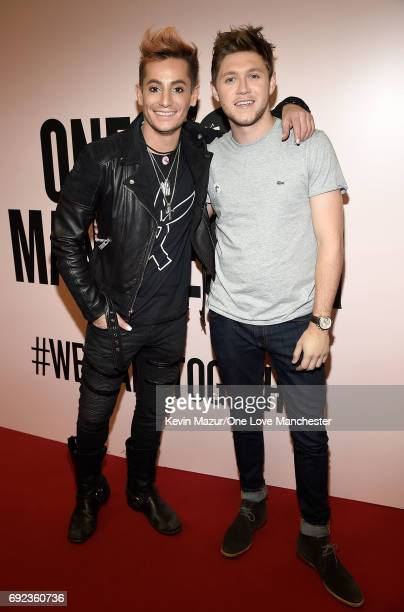 Frankie J Grande and Niall Horan backstage during the One Love Manchester Benefit Concert at Old Trafford Cricket Ground on June 4 2017 in Manchester...
