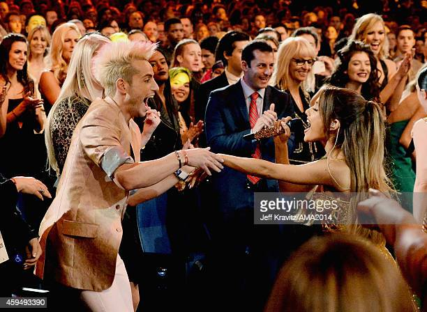 Frankie J Grande and recording artist Ariana Grande during the 2014 American Music Awards at Nokia Theatre LA Live on November 23 2014 in Los Angeles...