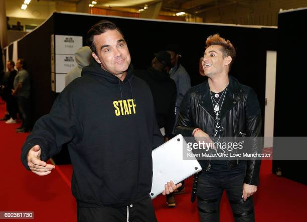 Frankie J Grande and Robbie Williams backstage during the One Love Manchester Benefit Concert at Old Trafford Cricket Ground on June 4 2017 in...