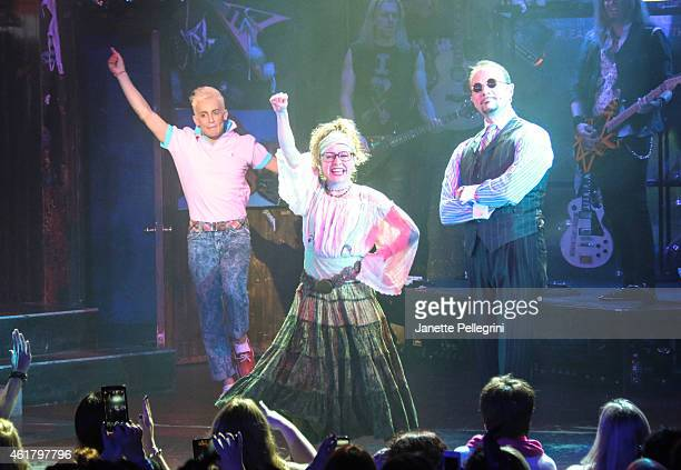 Frankie J Grande Josephine Rose Roberts and Paul Schoeffler attend 'Rock Of Ages' Final Performance On Broadway at Helen Hayes Theatre on January 18...