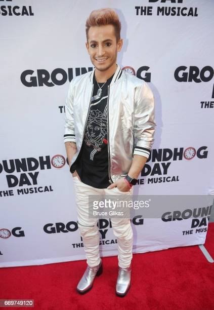 Frankie James Grande poses at the opening night of the new musical based on the film Groundhog Day on Broadway at The August Wilson Theatre on April...