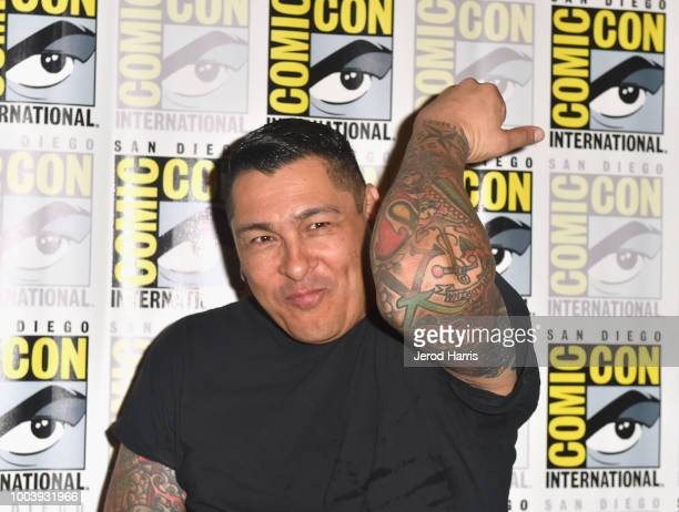 Frankie Loyal attends FX's Mayans MC press line during ComicCon International 2018 at Hilton Bayfront on July 22 2018 in San Diego California