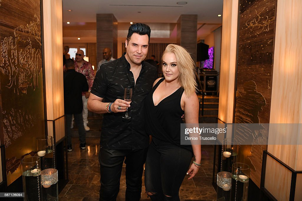 Frankie Marino and Lacey Schwimmer attend Jennifer Lopez's birthday at Nobu Villa Atop Nobu Hotel at Caesars Palace on July 24, 2016 in Las Vegas, Nevada.