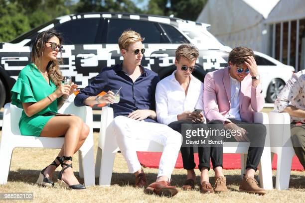 Frankie Mendola Joshua Pieters Joe Sugg and Bryon Langley attend the Audi Polo Challenge at Coworth Park Polo Club on June 30 2018 in Ascot England