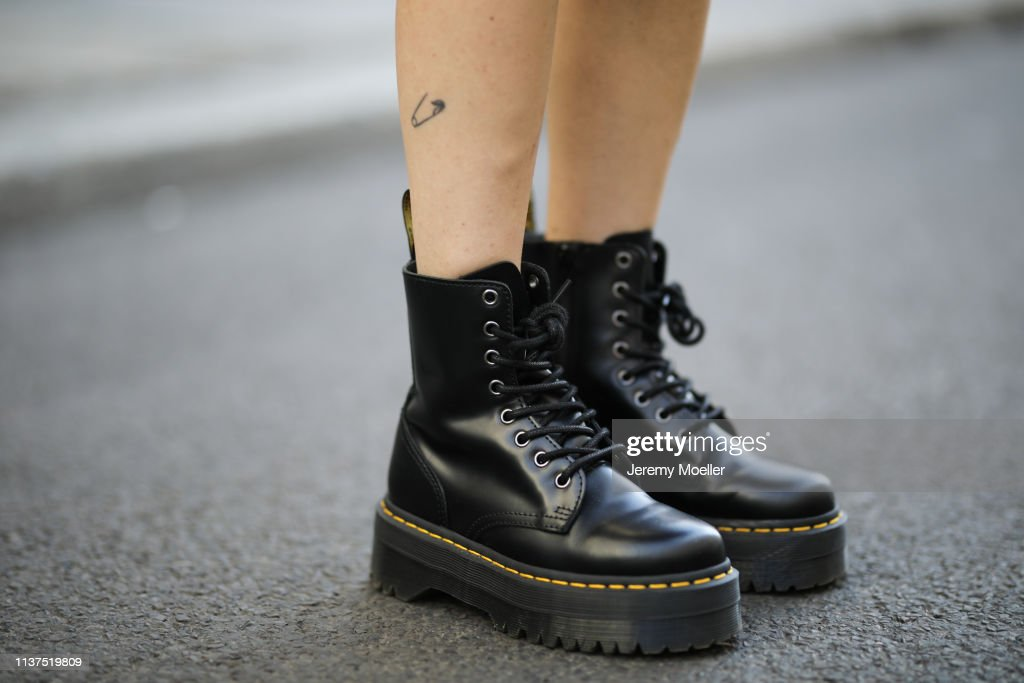 presto Portare fuori Riparatore  Frankie Miles wearing boots dr martens jadon, Maria Black hoops... News  Photo - Getty Images