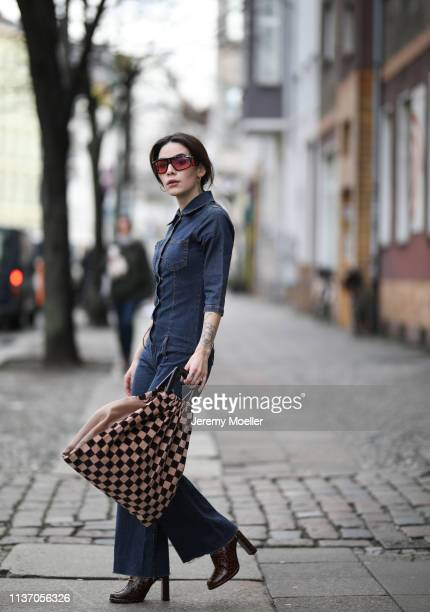 Frankie Miles wearing flared jeansoverall vintage sunglasses carrera facer Baum Pferdgarten bag Boots croco Topshop jewelry hoops Maria Black on...