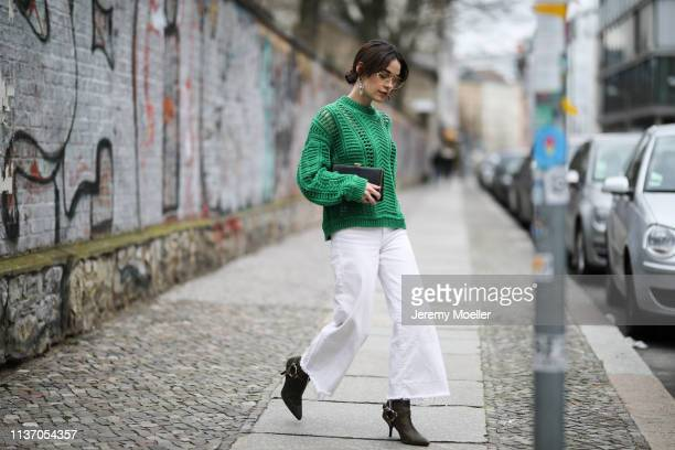 Frankie Miles wearing sunglasses Celine, green knit ba&sh, white jeans culotte H&M, statement earrings topshop, clutch solitaire miu miu, Cowboy...