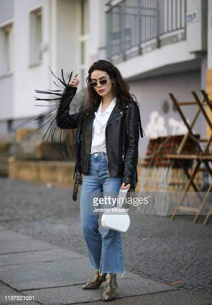 Frankie Miles wearing Sunglasses jimmy Choo Leather jacket fringe cowboy style Gucci White silk blouse shirt lisou Polene bag Numero six white Flared...